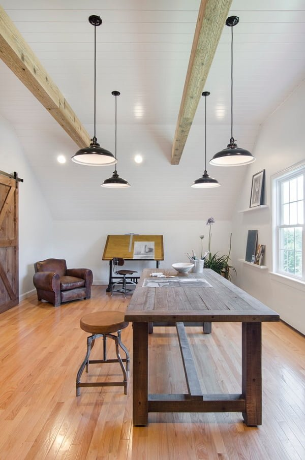 100 Charming Farmhouse Decor Ideas for Your Home Office - You have to see this #farmhouseoffice decor idea with hanging metalic ceiling lamps and corner leather armchair. Love it! #FarmhouseOfficeDecor #HomeDecorIdeas