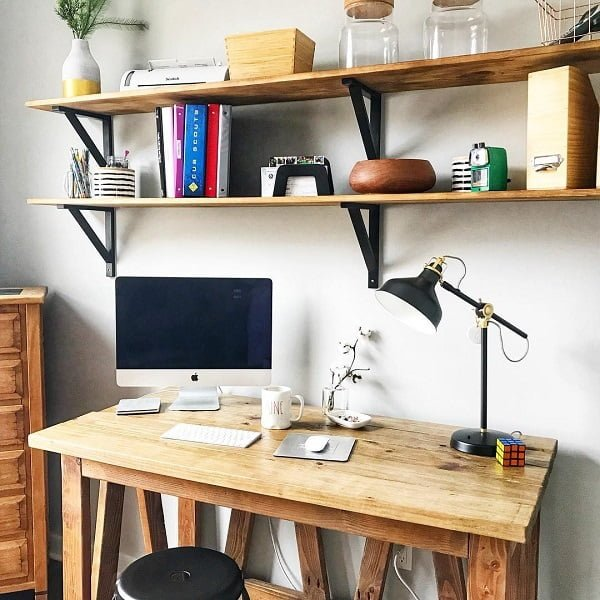 100 Charming Farmhouse Decor Ideas for Your Home Office - You have to see this #farmhouseoffice decor idea with artistic office stool and mason jars decor. Love it! #FarmhouseOfficeDecor #HomeDecorIdeas