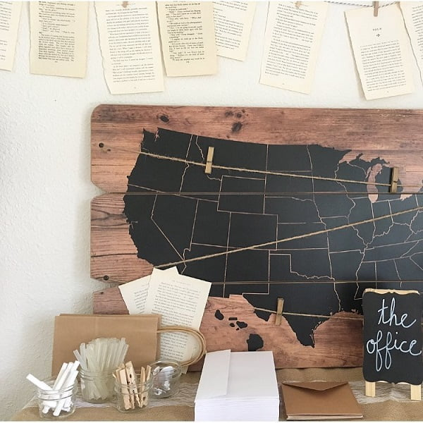 100 Charming Farmhouse Decor Ideas for Your Home Office - You have to see this #farmhouseoffice decor idea with cuetip-like holding cups and an inked world map. Love it! #FarmhouseOfficeDecor #HomeDecorIdeas