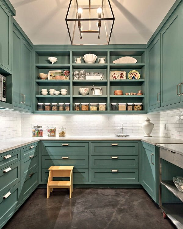 100 Stunning Farmhouse Kitchen Decor Ideas You Have to Try - You have to see this kitchen decor idea with two-step pedestal, white tile walls and dark grey floors. Love it! Kitchen