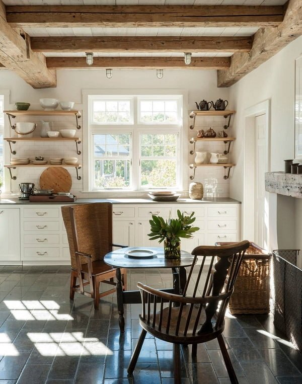 100 Stunning Farmhouse Kitchen Decor Ideas You Have to Try - You have to see this #farmhousekitchen decor idea with hardwood ceiling bars and dark tile floors. Love it! #FarmhouseKitchen #HomeDecorIdeas