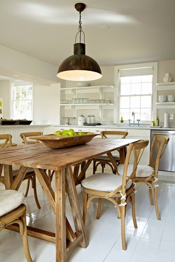 100 Stunning Farmhouse Kitchen Decor Ideas You Have to Try - You have to see this kitchen decor idea with retro mettalic hanging light and silver kitchen appliances. Love it! Kitchen