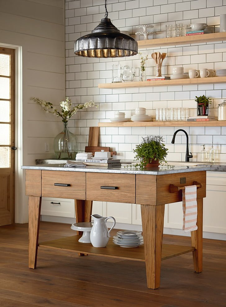 100 Stunning Farmhouse Kitchen Decor Ideas You Have to Try - You have to see this kitchen decor idea with white brick tile walls and three massive wall shelves. Love it! Kitchen