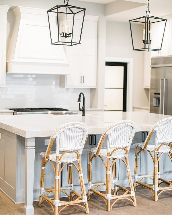 100 Stunning Farmhouse Kitchen Decor Ideas You Have to Try - You have to see this #farmhousekitchen decor idea with statement pull-down iron faucet and hardwood floors. Love it! #FarmhouseKitchen #HomeDecorIdeas
