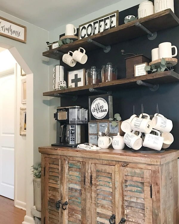 You have to see this #farmhousekitchen decor idea with multiple metalic storage boxes and kitchen wall signs. Love it! #FarmhouseKitchen #HomeDecorIdeas