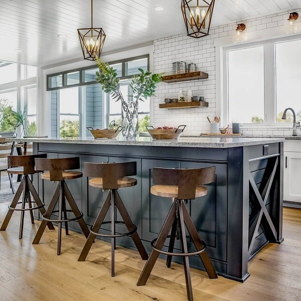 100 Stunning Farmhouse Kitchen Decor Ideas You Have to Try - You have to see this #farmhousekitchen decor idea with white brick walls and hardwood shelves. Love it! #FarmhouseKitchen #HomeDecorIdeas