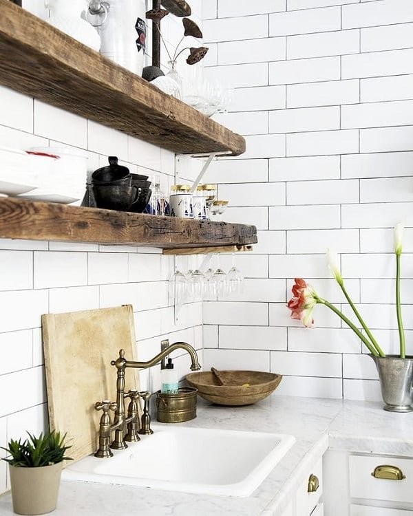 100 Stunning Farmhouse Kitchen Decor Ideas You Have to Try - You have to see this kitchen decor idea with rustic brass faucet and white-gold cabinets. Love it! Kitchen