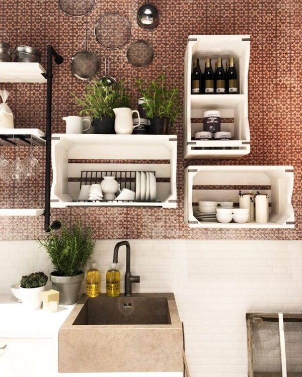 You have to see this #farmhousekitchen decor idea with a one-hole iron faucet and porcelain kitchenware. Love it! #FarmhouseKitchen #HomeDecorIdeas