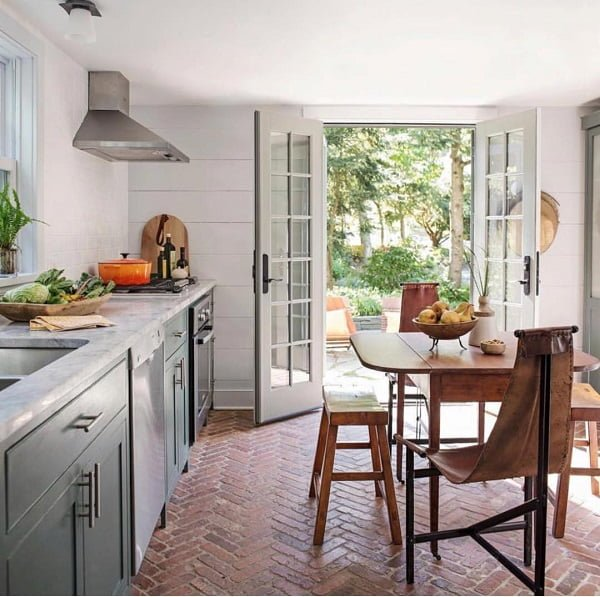 100 Stunning Farmhouse Kitchen Decor Ideas You Have to Try - You have to see this #farmhousekitchen decor idea with refreshing brick floor and marble countertops. Love it! #FarmhouseKitchen #HomeDecorIdeas
