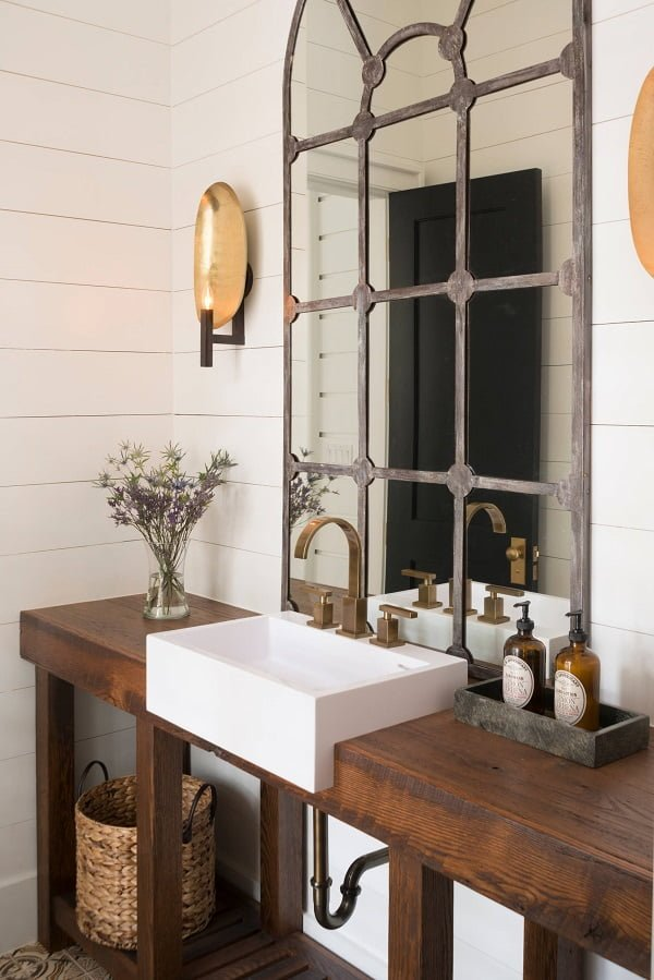 100 Inspiring Farmhouse Sink Ideas for the Kitchen and Bathroom - You have to see this sink decor idea with avangard brass faucet and detached soap holder. Love it!