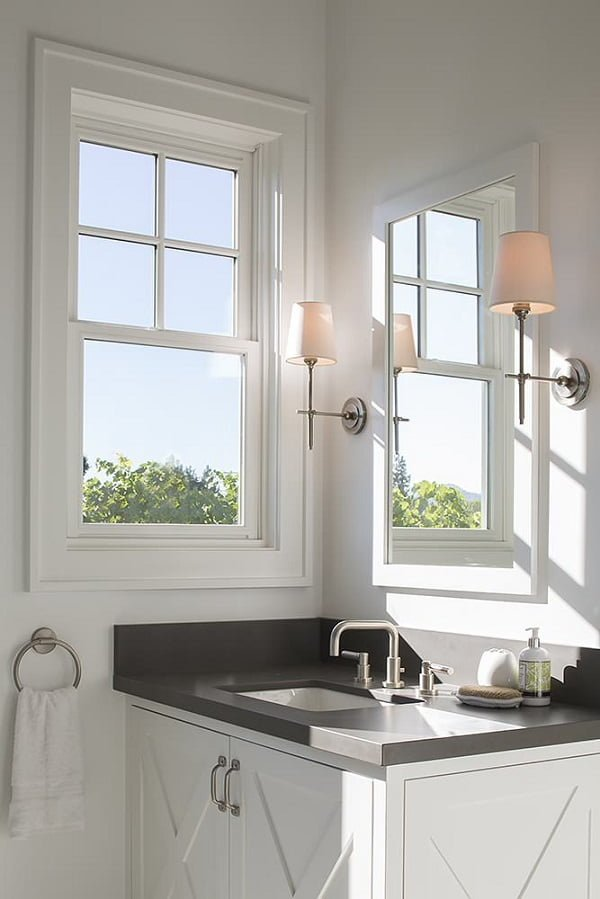 100 Inspiring Farmhouse Sink Ideas for the Kitchen and Bathroom - You have to see this #farmhousesink decor idea with metalic and horizontal faucet with detached handles. Love it! #FarmhouseSinkDecor #HomeDecorIdeas
