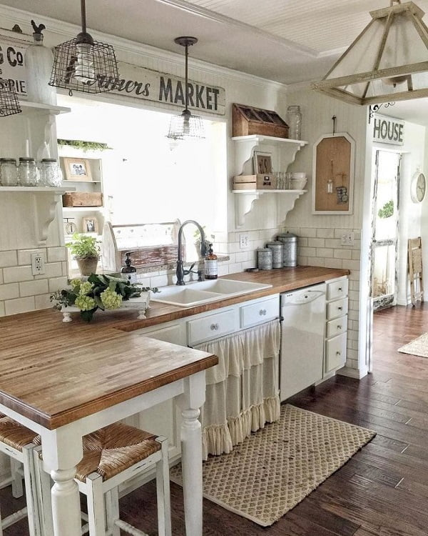 100 Inspiring Farmhouse Sink Ideas for the Kitchen and Bathroom - You have to see this #farmhousesink decor idea with metalic, U-shaped faucet and a separate liquid soap container. Love it! #FarmhouseSinkDecor #HomeDecorIdeas