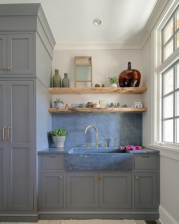 100 Inspiring Farmhouse Sink Ideas for the Kitchen and Bathroom - You have to see this sink decor idea with widespread double-handle faucet and marble countertops. Love it!