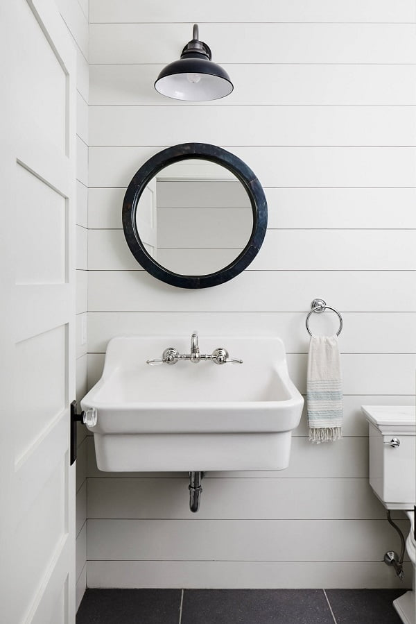 100 Inspiring Farmhouse Sink Ideas for the Kitchen and Bathroom - You have to see this sink decor idea with centerset silver faucet and statement framed mirror. Love it!