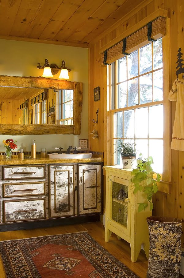 100 Inspiring Farmhouse Sink Ideas for the Kitchen and Bathroom - You have to see this #farmhousesink decor idea with widespread brass faucet and and yellow countertops. Love it! #FarmhouseSinkDecor #HomeDecorIdeas
