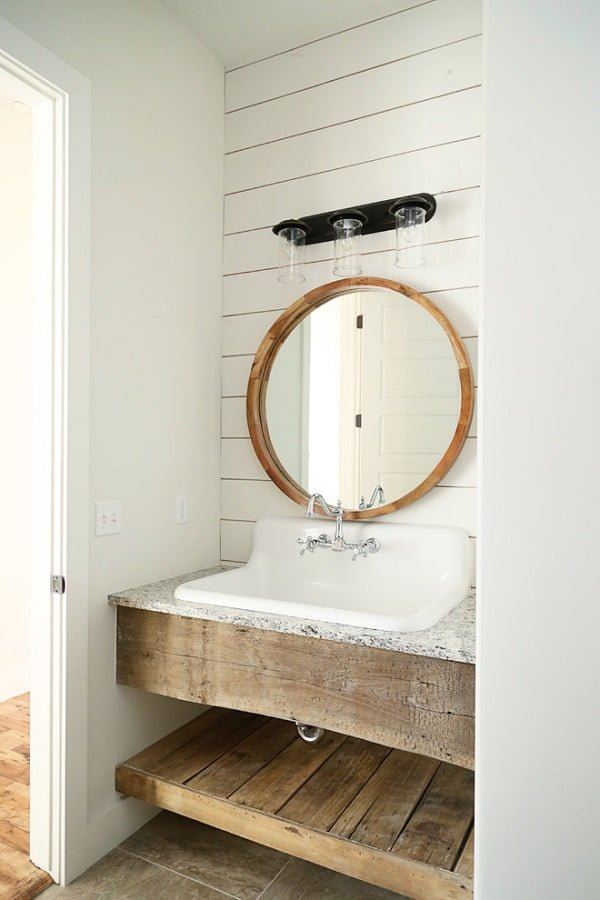 100 Inspiring Farmhouse Sink Ideas for the Kitchen and Bathroom - You have to see this #farmhousesink decor idea with wall-mount silver faucet with double-handle taps . Love it! #FarmhouseSinkDecor #HomeDecorIdeas