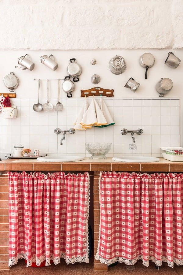 100 Inspiring Farmhouse Sink Ideas for the Kitchen and Bathroom - You have to see this #farmhousesink decor idea with two wall-mount silver faucets and below-sink storage shelves Love it! #FarmhouseSinkDecor #HomeDecorIdeas
