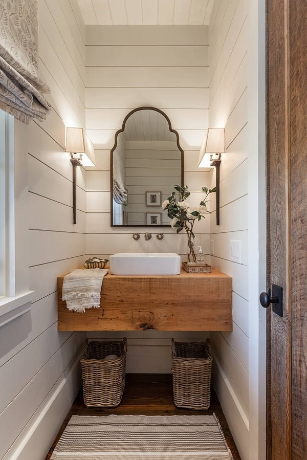 100 Inspiring Farmhouse Sink Ideas for the Kitchen and Bathroom - You have to see this #farmhousesink decor idea with wall-mount metalic faucet with double-handles and minimalistic design. Love it! #FarmhouseSinkDecor #HomeDecorIdeas