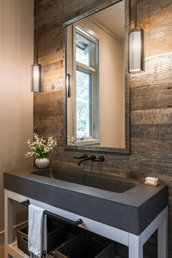 100 Inspiring Farmhouse Sink Ideas for the Kitchen and Bathroom - You have to see this sink decor idea with below-sink storage shelf and minimlistic wall-mount faucet. Love it!