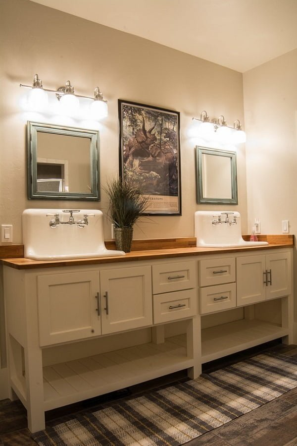 100 Inspiring Farmhouse Sink Ideas for the Kitchen and Bathroom - You have to see this #farmhousesink decor idea with transparent double-handle faucets and hardwood sink countertops. Love it! #FarmhouseSinkDecor #HomeDecorIdeas