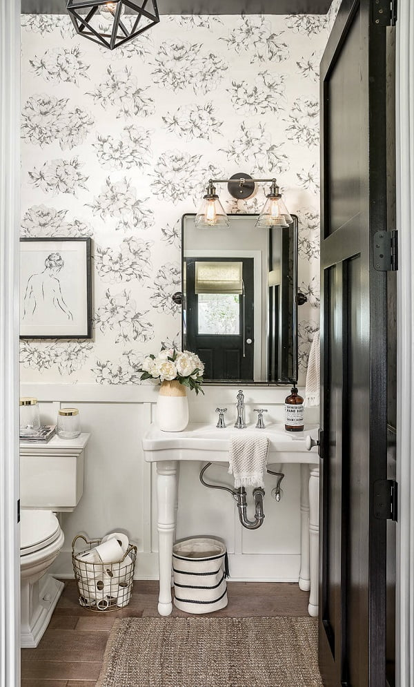 100 Inspiring Farmhouse Sink Ideas for the Kitchen and Bathroom - You have to see this #farmhousesink decor idea with widespread silver faucet and startegic sink mirror. Love it! #FarmhouseSinkDecor #HomeDecorIdeas