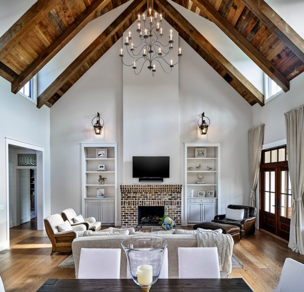 living room decor idea with elegant living room set a sky-high ceilings. Love it!