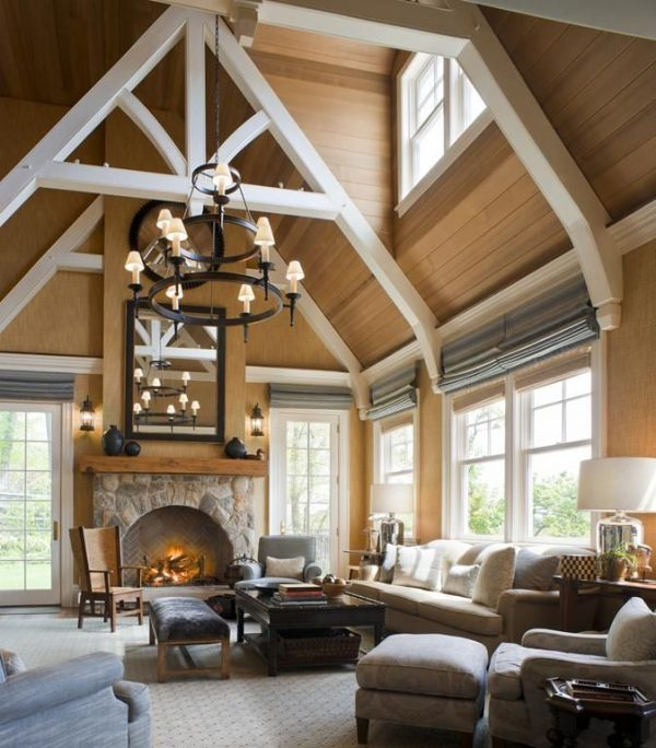 living room decor idea with aristocratic background and perplexing wooden ceiling. Love it!