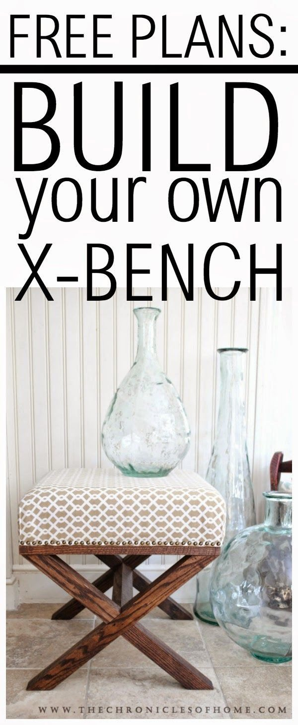 Check out the tutorial on how to make a #DIY x-frame bench. Looks easy enough! #HomeDecorIdeas