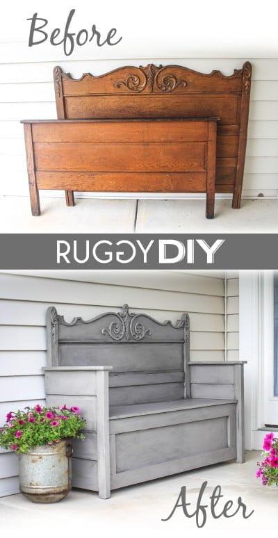 DIY repurposed headboard bench
