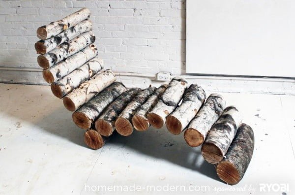 Great idea! Check out the tutorial on how to make a #DIY outdoor log lounger. #HomeDecorIdeas