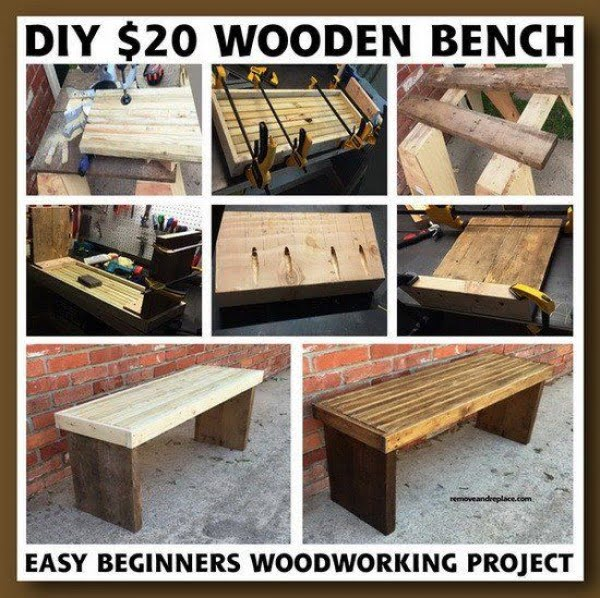 Check out the tutorial on how to make a #DIY wooden bench for $20. Looks easy enough! #HomeDecorIdeas