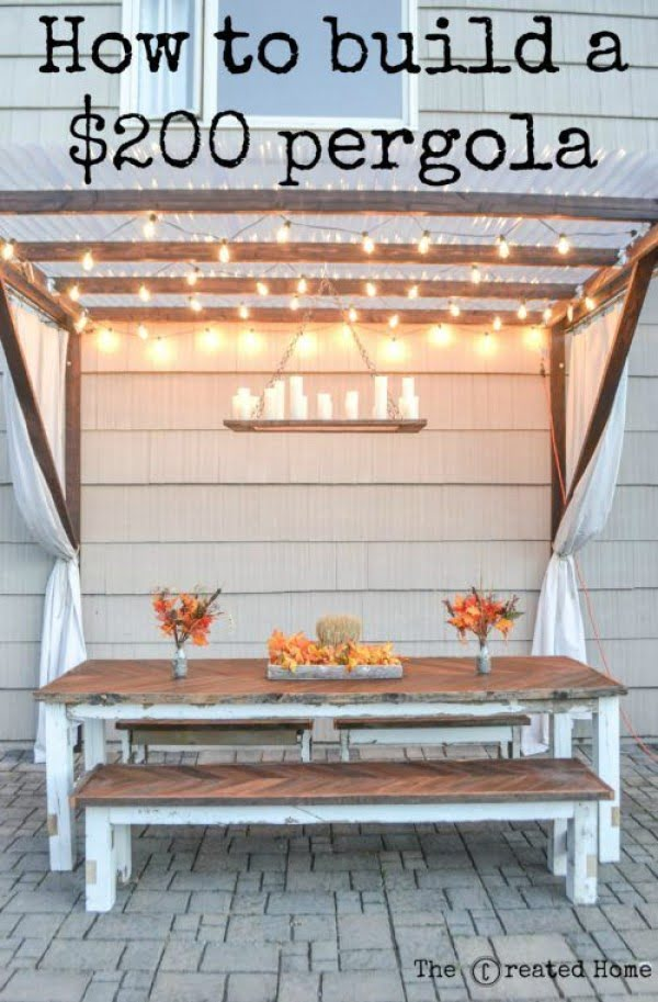 Great idea! Check out the tutorial on how to make a #DIY pergola for under $200. #HomeDecorIdeas
