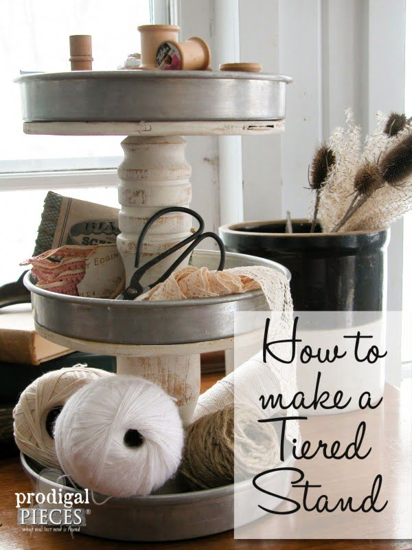 How to make a #DIY #farmhouse tiered stand. Looks easy enough! #HomeDecorIdeas