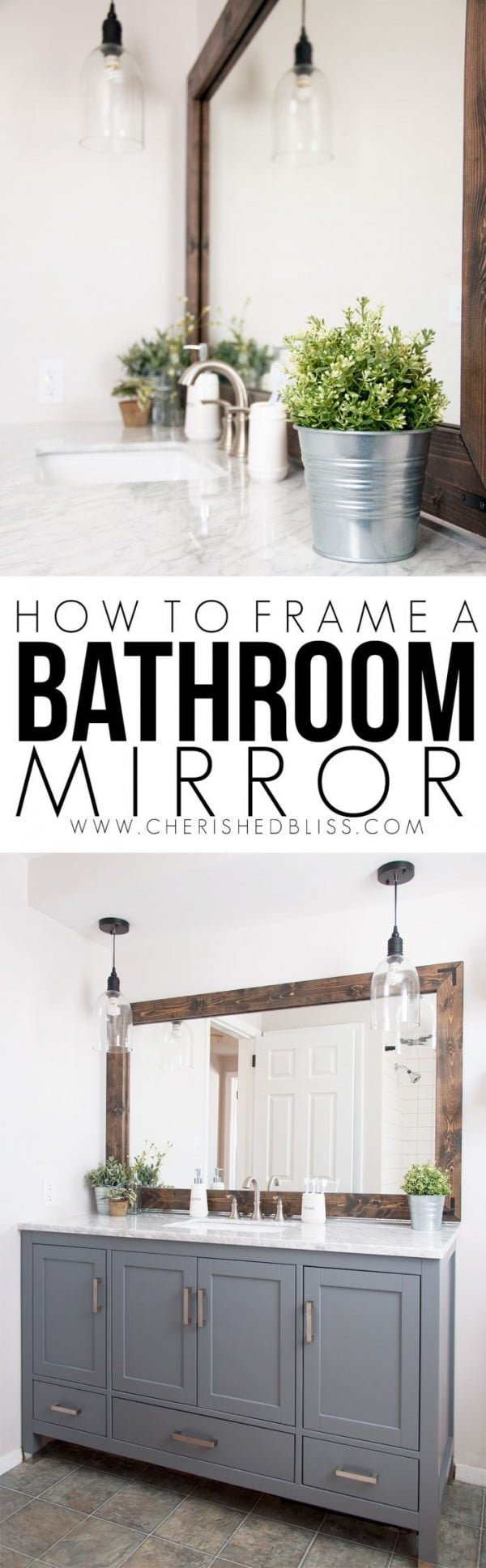 How to make a   bathroom mirror. Looks easy enough!