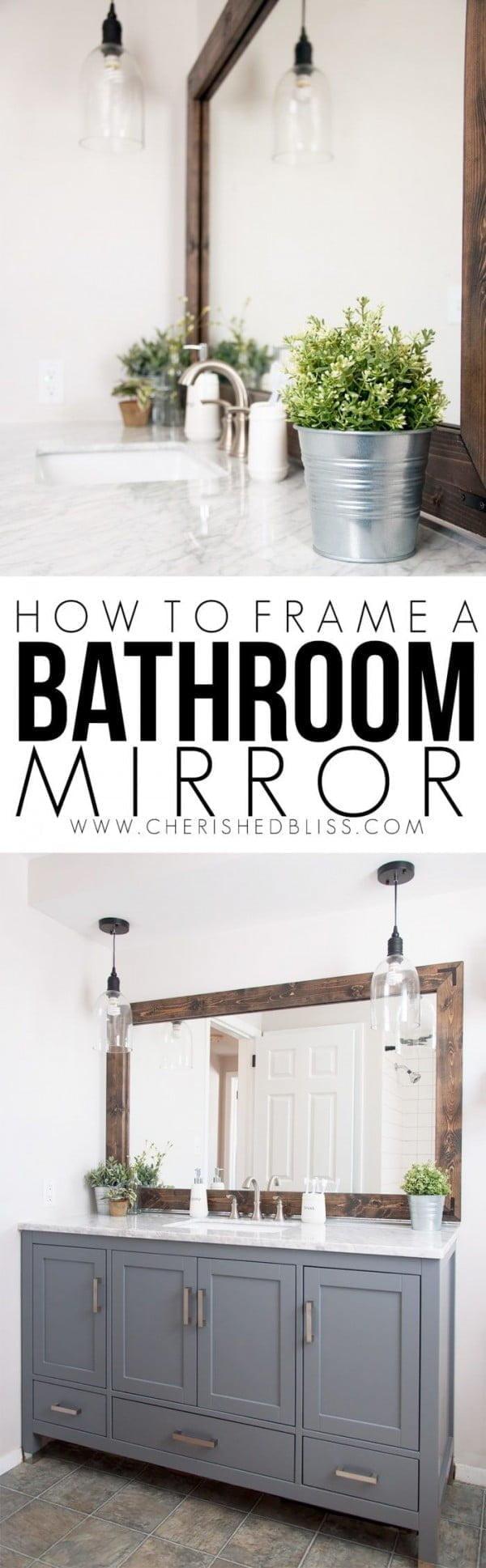 Check out the tutorial on how to make a #DIY #farmhouse bathroom mirror. Looks easy enough! #HomeDecorIdeas