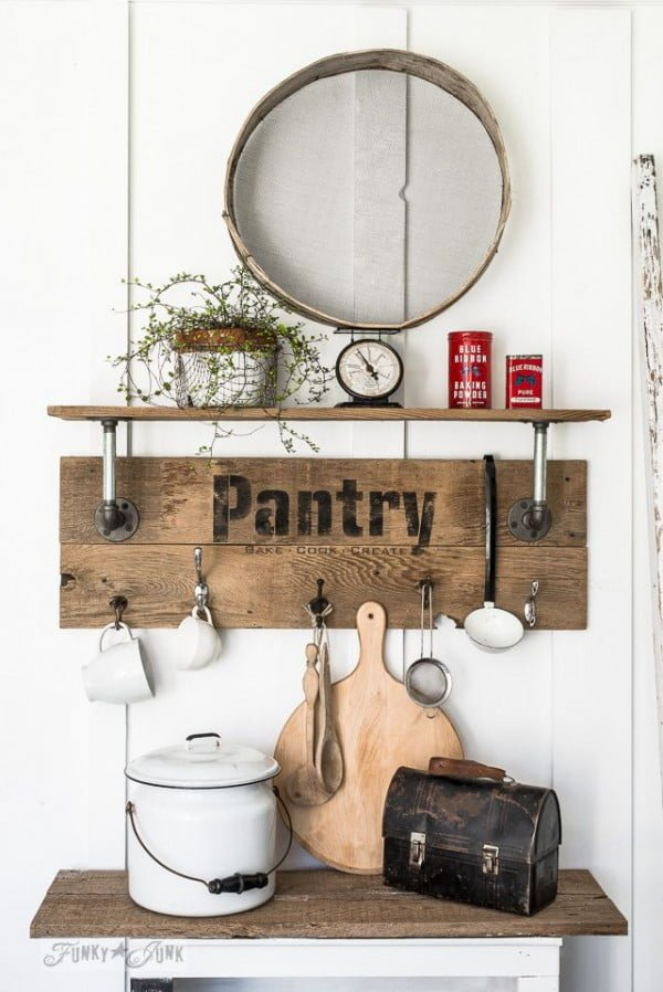 Check out the tutorial on how to make a #DIY #farmhouse wood and pipe pantry shelf. Looks easy enough! #HomeDecorIdeas