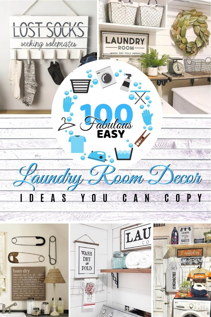 Don't forget your laundry room and its decor. Here are a whopping 100 ideas for you to choose from. This is a great list of ideas worth saving! #homedecor #laundryroomdecor