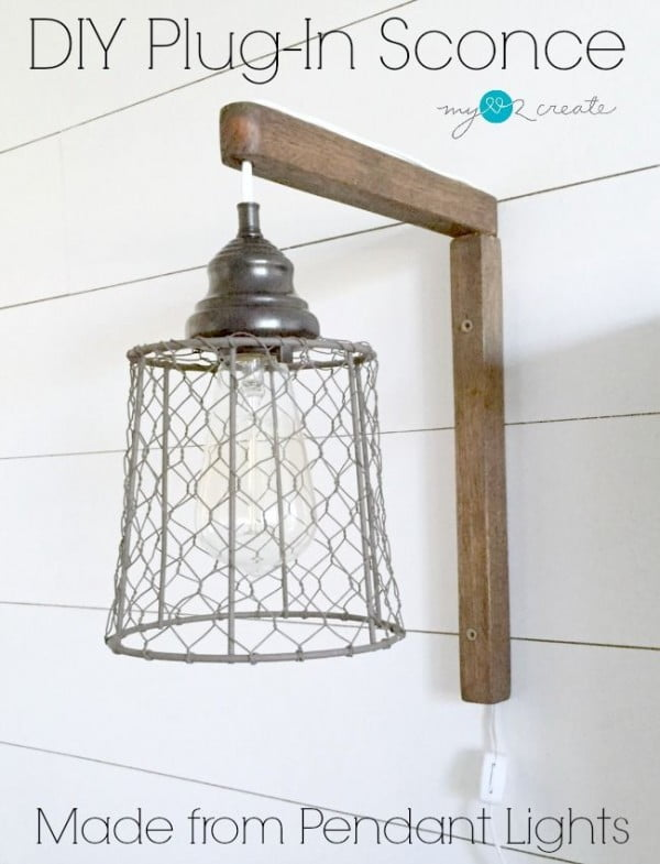 How to make a #DIY #farmhouse wire basket plugin sconce. Looks easy enough! #HomeDecorIdeas