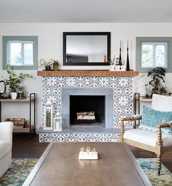 You have to see this #modernfarmhouse decor idea with traycart-transformed shelves and two square windows. Love it! #ModernFarmhouseDecor #HomeDecorIdeas