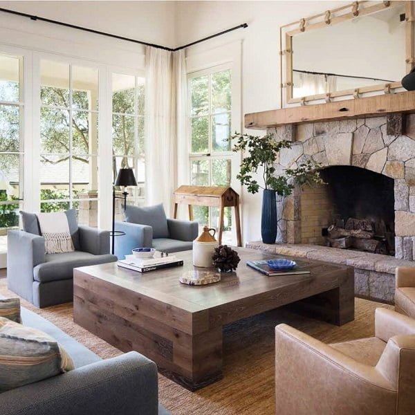 You have to see this #modernfarmhouse decor idea with intriguing framed mirror and cream leather armchairs. Love it! #ModernFarmhouseDecor #HomeDecorIdeas