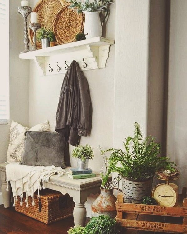 You have to see this #modernfarmhouse decor idea with egshell walls and bamboo storage chest. Love it! #ModernFarmhouseDecor #HomeDecorIdeas