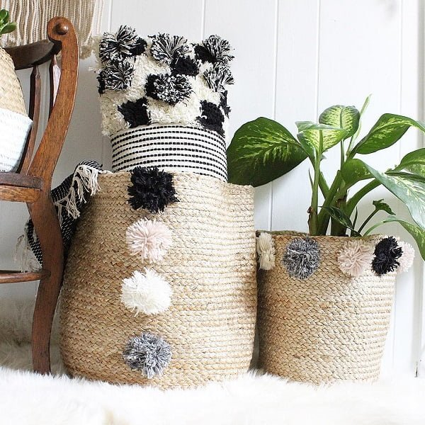 decor idea with fuzzy neutral carpet and handmade wood chair. Love it!