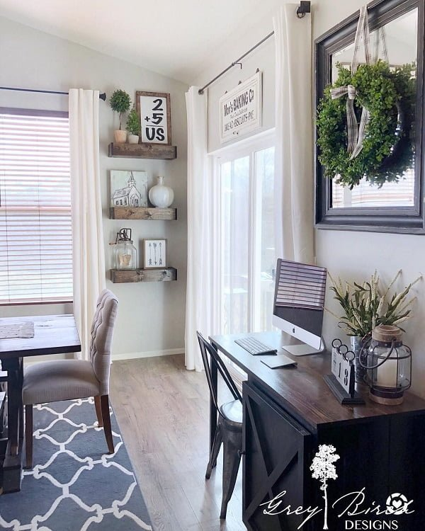 You have to see this #modernfarmhouse decor idea with framed wall mirror and sliding outside door. Love it! #ModernFarmhouseDecor #HomeDecorIdeas