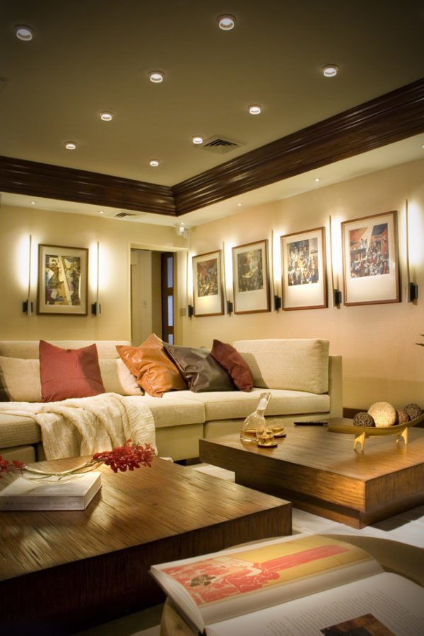 decor idea with colorful leather pillows and multiple halogen ceiling lamps. Love it!