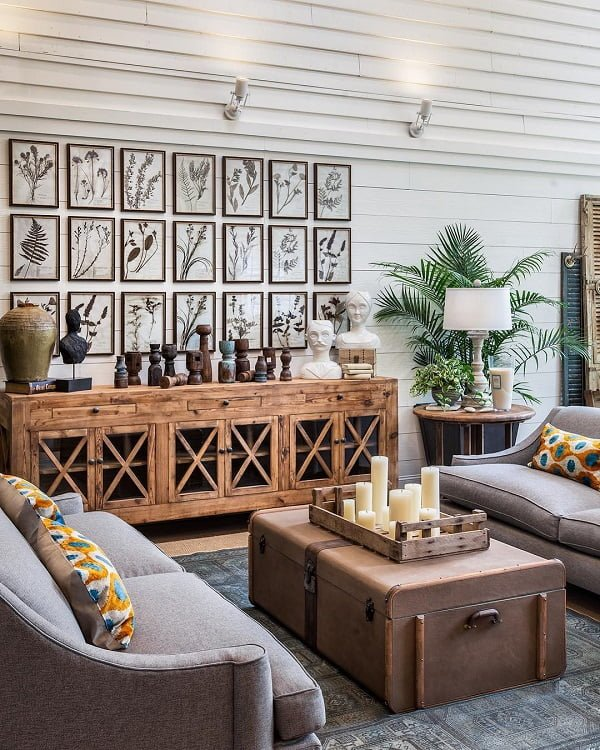 #modernfarmhouse decor idea with modern tw-seat couches and exhibitional biology photo wall. Love it! #ModernFarmhouseDecor #HomeDecorIdeas