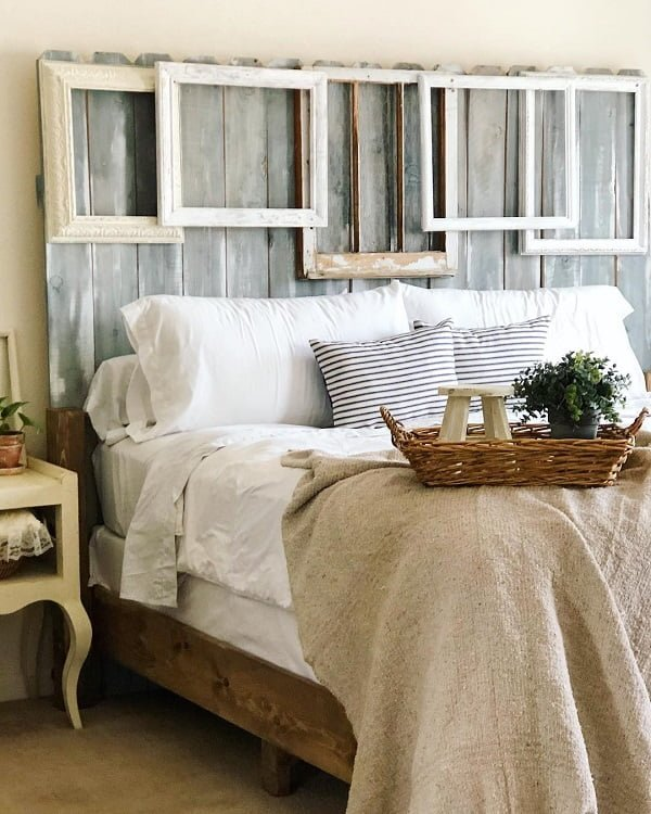 decor idea with navy patterned bed pillows and bamboo basket tray. Love it!
