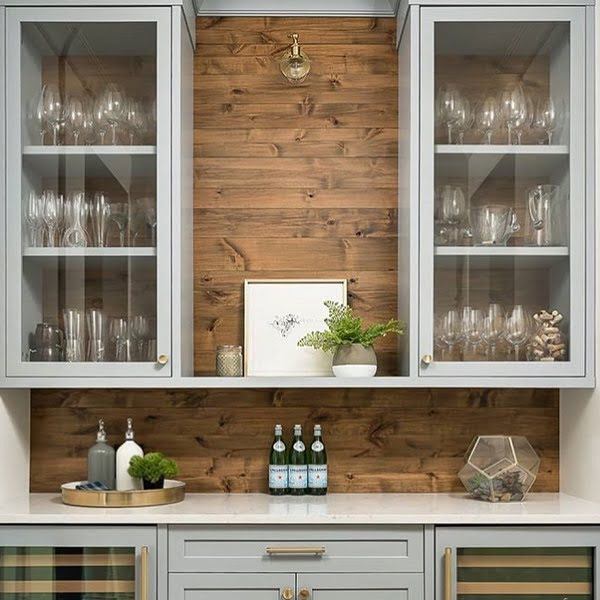 decor idea with hardwood back wall and patterned bottom kitchen cabinets. Love it!