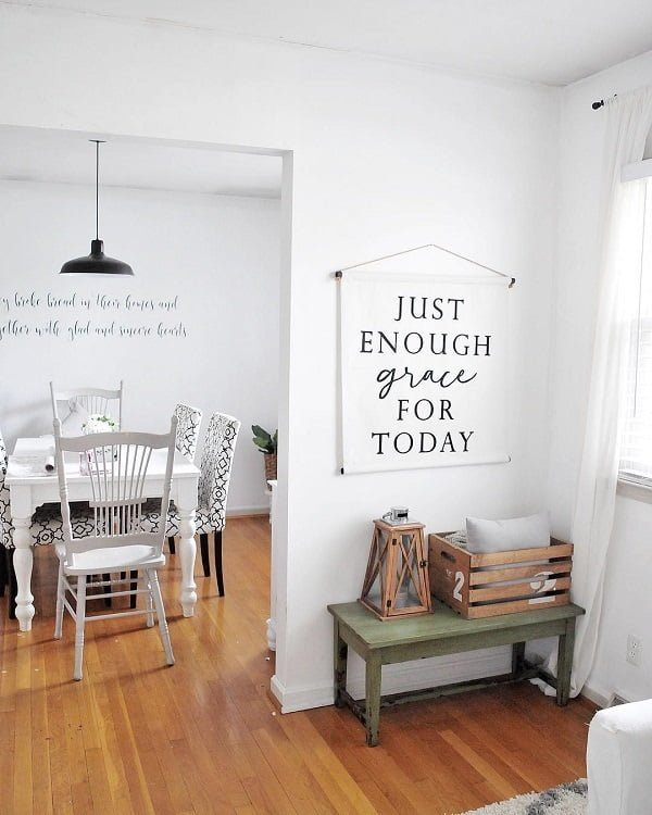 decor idea with hadrwood floors and motivational wall signs. Love it!