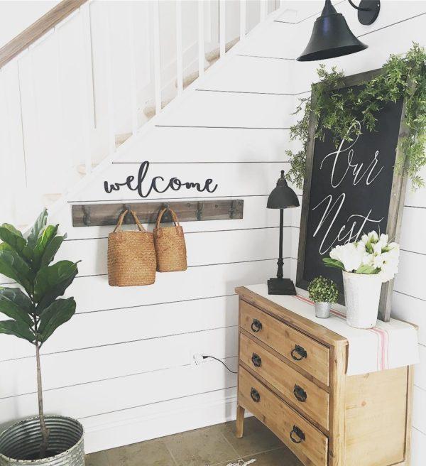 decor idea with grey tile floors and tin flower pot. Love it!