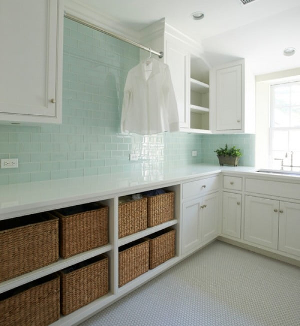 100 Fabulous Laundry Room Decor Ideas You Can Copy - You have to see this laundry room decor idea with turquoise wall tiling. Love it! #HomeDecorIdeas #LaundryRoomDesign